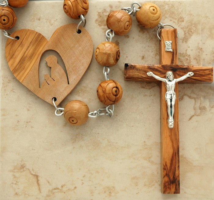 HLWCO - Carved Olive Wood Wall Rosary