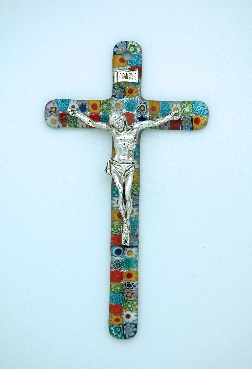 IG1486 - Italian Genuine Murano Glass Crucifix, Multi-Colored Flowers, 6 in.