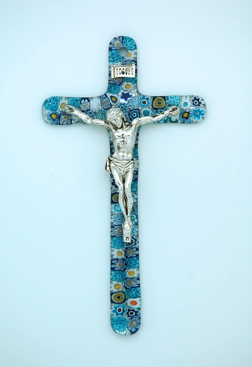 IG1486B - Italian Genuine Murano Glass Crucifix, Blue Flowers, 6 in.