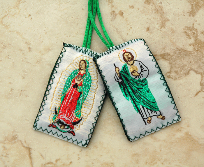SCP-J - Green Wool Scapular, St. Jude / Guadalupe