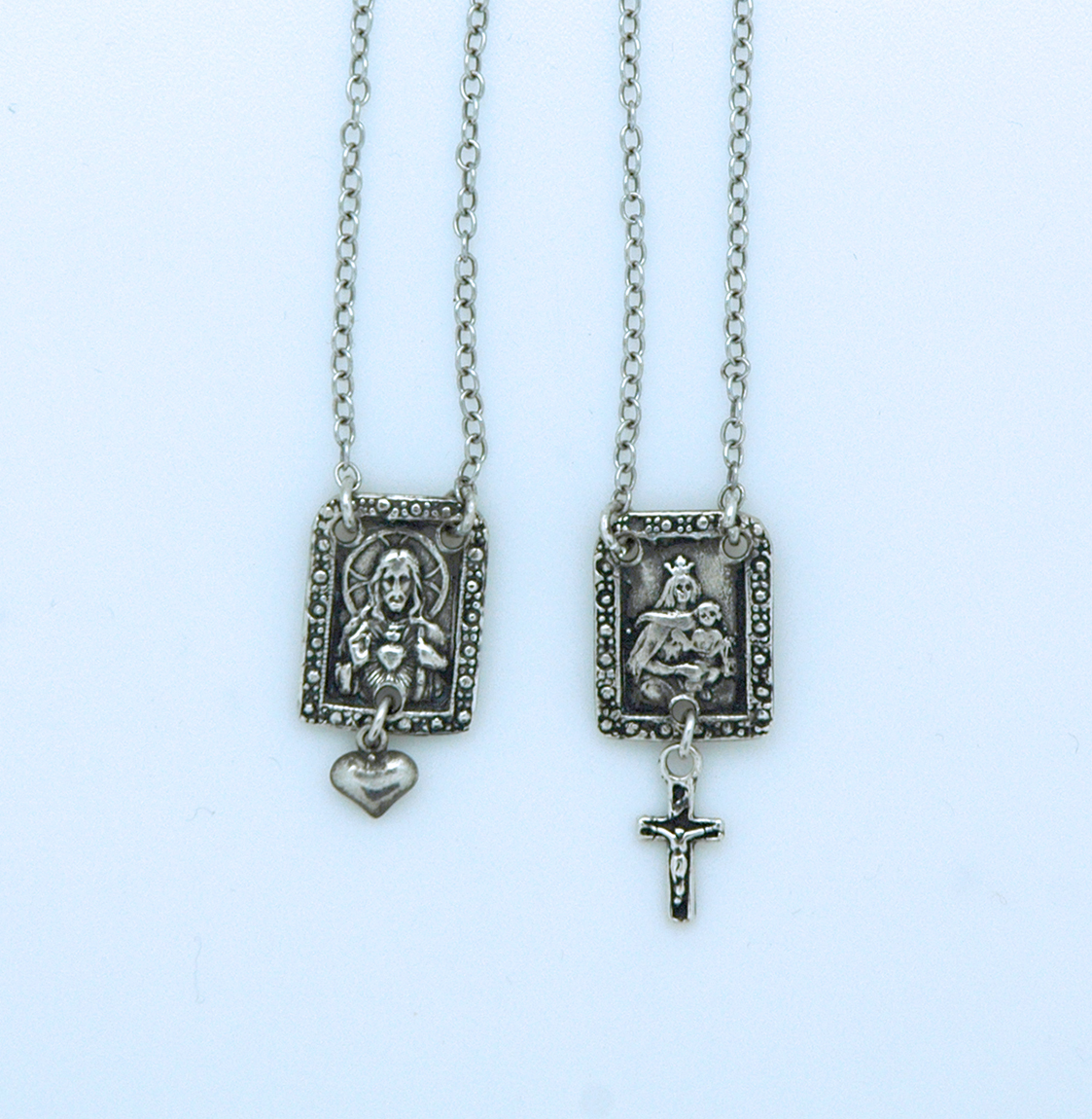 SSN83 - Sterling Silver Scapular with Cross & Heart, 11/16 in. Medals