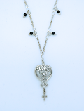 SSN24 - Sterling Silver Necklace, Heart with Black Onyx Beads, 16 in. Sterling Silver Chain