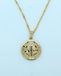 BMF321 - Brazilian Necklace, Gold Plated, St. Benedict, 20 in. Chain