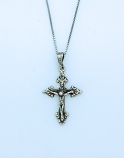 SSN128 - Sterling Silver Necklace, Pointed End Crucifix, 18 in. Sterling Silver Chain