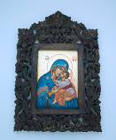 G1IND-MDB - Greek Icon, Hand Painted Serigraph in Carved Wood, Blue Madonna, 8 1/2 x 12 1/2 in.