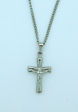 BCR56 - Brazilian Crucifix Necklace, Stainless Steel, 7/8 in., 20 in. Chain