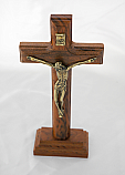 BA973 - Brazilian Wood Wall Crucifix with Removable Stand, Gold Corpus