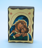GMINI2-MDB - Greek Hand Painted Serigraph Table Icon, Blue Madonna, 2 1/2 x 3 1/2 in.