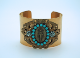 VCB4 - Vintage Style Cuff Bracelet, Miraculous Medal, Turquoise Swarovski Crystals
