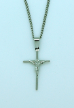 BCR22 - Brazilian Crucifix Necklace, Stainless Steel, 1 1/8 in., 20 in. Chain