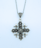 SSN50 - Sterling Silver Necklace, Jerusalem Cross, 18 in. Sterling Silver Chain
