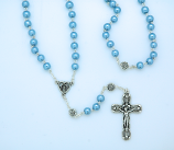 P402B - 6 mm. Glass Pearl Rosary from Fatima, Silver Rose Our Father Beads, Blue