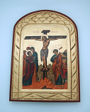 G2SKS-6 - Greek Icon, Hand Painted Serigraph, Crucifixion, 14x10 in.