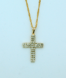 BCF17 - Brazilian Necklace, Gold Plated Cross with Crystals, 1 1/4 in., 20 in. Chain
