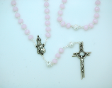 PTF004P - 8 mm. Light Pink Crystal Rosary with Silver Our Father Beads from Fatima