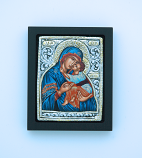 GEM03XD-MDB - Greek Icon, Sterling Silver Plated, Blue Madonna, 2 1/2 x 3 in.
