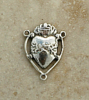 SS10 - Sterling Silver Center, Heart/Our Lady of Sorrows, 3/4 in.