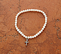 SSB2 - Freshwater Pearl Stretch Bracelet with Sterling Silver Cross, Large or Small
