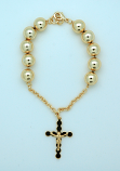 BPS138 - Brazilian Gold Plated Rosary Bracelet, 10 mm. Beads