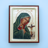 G00SF-SR - Greek Hand Painted Serigraph, Our Lady of Sorrows, 4x5 in.