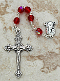DR84R - Italian Cut Glass Rosary, Red