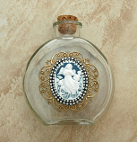 VHWB20A - Vintage Style Holy Water Bottle, Angel Cameo, Double Row Swarovski Crystals