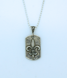 SSN53 - Sterling Silver Dog Tag Fleur de Lis on Sterling Silver Chain
