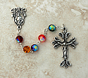 SSR33 - Sterling Silver Rosary, Swarovski Crystal, Jewel Tone Mix