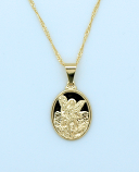 BMF606 - Brazilian Necklace, Gold Plated, Large St. Michael, 20 in. Chain