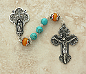 SSR20 - Sterling Silver Rosary, Turquoise Balls with Amber Our Father Beads
