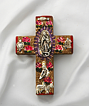 MXC20 - Mexican Hand Painted Cross with Milagros, 4 in.