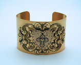 VCB12 - Vintage Style Cuff Bracelet, Hammered Heart with Cross Medal