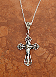 SSN131 - Sterling Silver Filigree Crucifix on 18 in. Sterling Silver Chain
