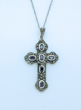 SSN36 - Sterling Silver Necklace, Amethyst Cross, 18 in. Sterling Silver Chain