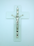 IG2254 - Italian Genuine Murano Glass Crucifix, Clear, Crystals, 8 in.