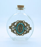 VHWB4 - Vintage Style Holy Water Bottle, Miraculous Medal, Turquoise Swarovski Crystals