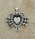 SS18 - Sterling Silver Center, Heart with Seven Swords, 3/4 in.