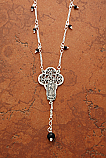 SSN23 - Sterling Silver Guadalupe Medal with Black Onyx Beads on Sterling Silver Chain