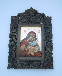 G1IND-MDR - Greek Icon, Hand Painted Serigraph in Carved Wood, Red Madonna, 8 1/2 x 12 1/2 in.