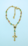 BPS90 - Brazilian Gold Plated Bracelet, Multi-Colored Crystals, Miraculous Medal