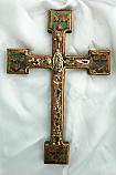 MXC6 - Mexican Hand Painted Cross with Milagros, 12 in.