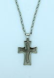 BCR03 - Brazilian Cross Necklace, Stainless Steel, 1 1/4 in., 20 in. Chain