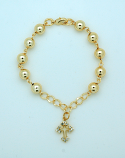 BPS144 - Brazilian Gold Plated Rosary Bracelet, 8 mm. Beads, Cross with Crystals