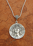 SSN98 - Sterling Silver Extra Large Ecce Homo/Guadalupe Medal on Sterling Silver Chain