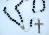 PV300CMP - 8 mm. Black Glass Rosary with Mother of Pearl Our Father Beads from Fatima