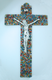 IG2436 - Italian Genuine Murano Glass Crucifix, Multi-Colored Flowers, 18 1/2 in.