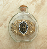 VHWB11MM - Vintage Style Holy Water Bottle, Miraculous Medal, Clear Swarovski Crystals