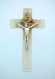 IG3193 - Italian Genuine Murano Glass Crucifix, Clear & Gold with Flowers, 6 in.