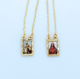 BF08 - Brazilian Gold Plated Scapular, Color Pictures, Diamond Cut Edge