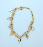 BPS34 - Brazilian Gold Plated Charm Bracelet, Two-Strands, Crystals